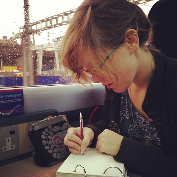 sarahmcintyre: Oxford-bound! @LucyKnisley #drawing