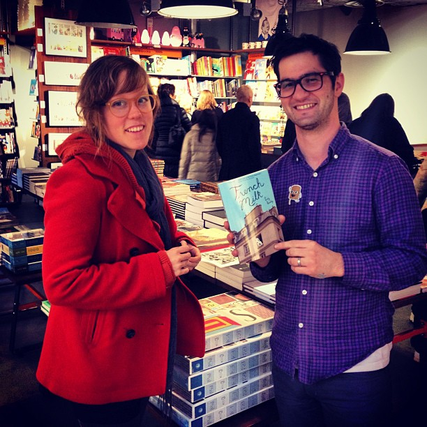 sarahmcintyre: @LucyKnisley signs a copy of 'French Milk' at @GoshComics. With the excellent @MikeMedaglia #london #comics