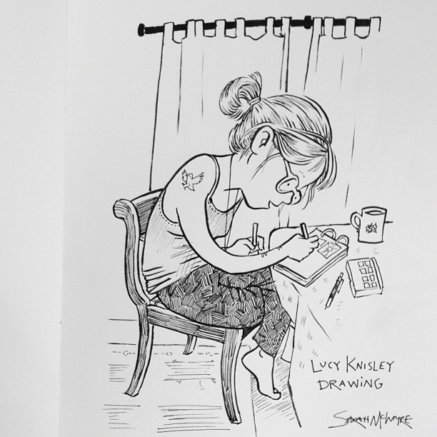 sarahmcintyre: Here's a picture I drew of @LucyKnisley last night, drawing. #sketchbook