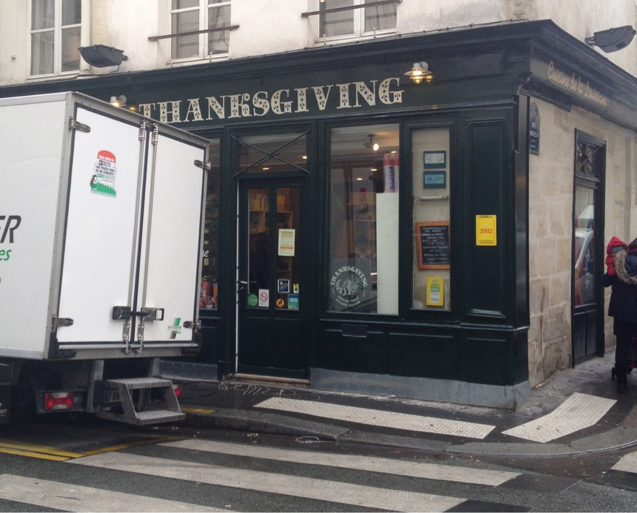"The American ex-pat shop in Paris was hilariously packed today (for some reason), full of people buying canned pumpkin and cranberries, to which all their French friends will shake their heads and go ""Ils sont fous."""