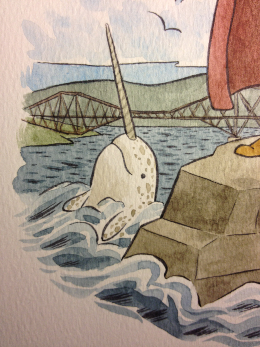 Detail from a commission piece I did today. Maybe I will put a narwhal in every piece of art I make from now on. Narwhals forever! Don't worry, manatees. You're still my faves.