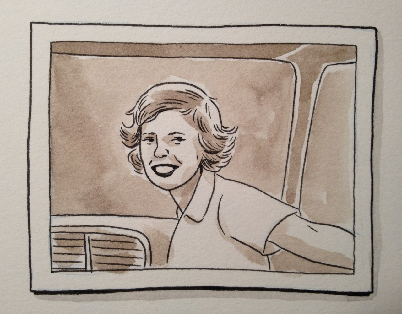 Sketched from an old photograph of my grandmother, here at her house. What a babe.