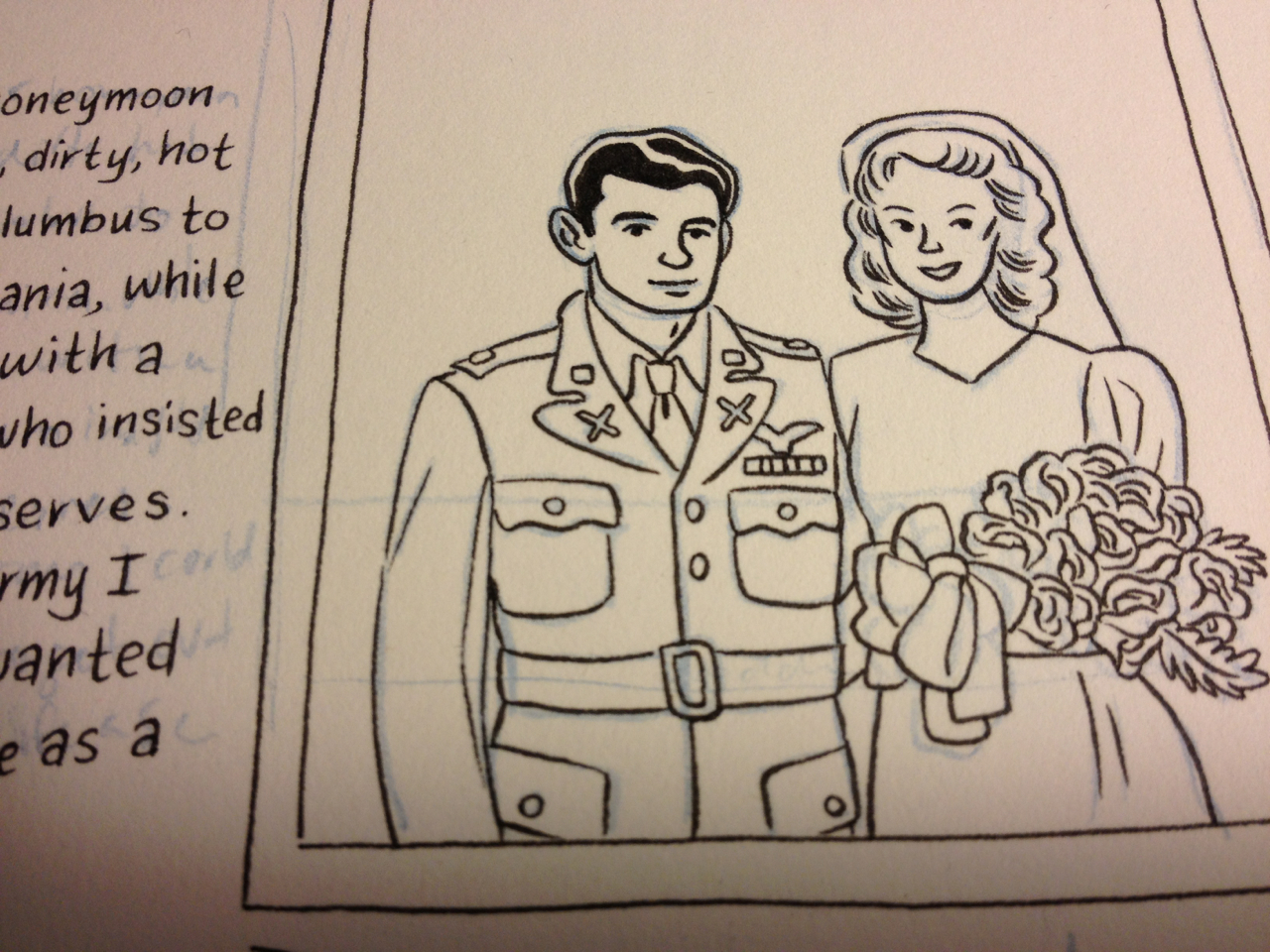 "From ""Displacement."" Almost done. Just finishing some pages about my grandfather's time as a WWII pilot. Illustrating certain parts of my grandfather's war memories have been tough. But some of the stories are nice. This is my grands on their wedding day, after three dates and lots of overseas letters."