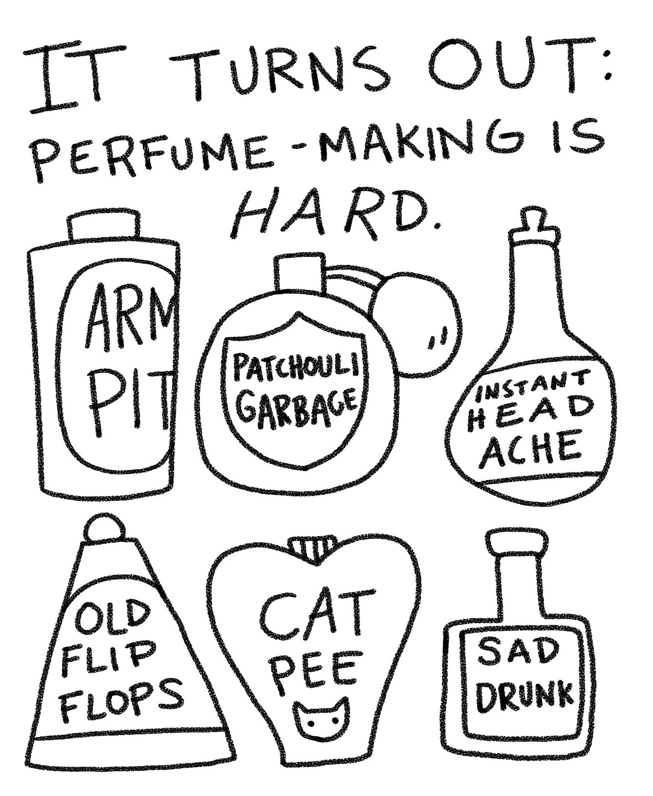 "I had my first perfume class today. Turns out: Perfume making is HARD. I've been griping for YEARS about how most commercial shampoos, perfumes and soaps and stuff smell like candy flower coconut nonsense and I hate that. I have a supa-sniffer, and prefer stuff like ""olive"" and ""green tea"" and ""fig leaf"" and ""pink peppercorn"" for scents. I've been experimenting with making homemade body spray with green tea and white musk essence, water and vodka in a spray bottle (with limited success). SO for my birthday this year, my mom bought me a two-day natural perfumerie class. I was super excited to learn more about the real process. Turns out, it's all very complicated and it is actually really easy to combine various aromas with disastrous results. I mostly blame patchouli. What a sad disgrace for an essential oil!  I'm determined to get better at this. *FLARES NOSTRILS IN DETERMINATION*"