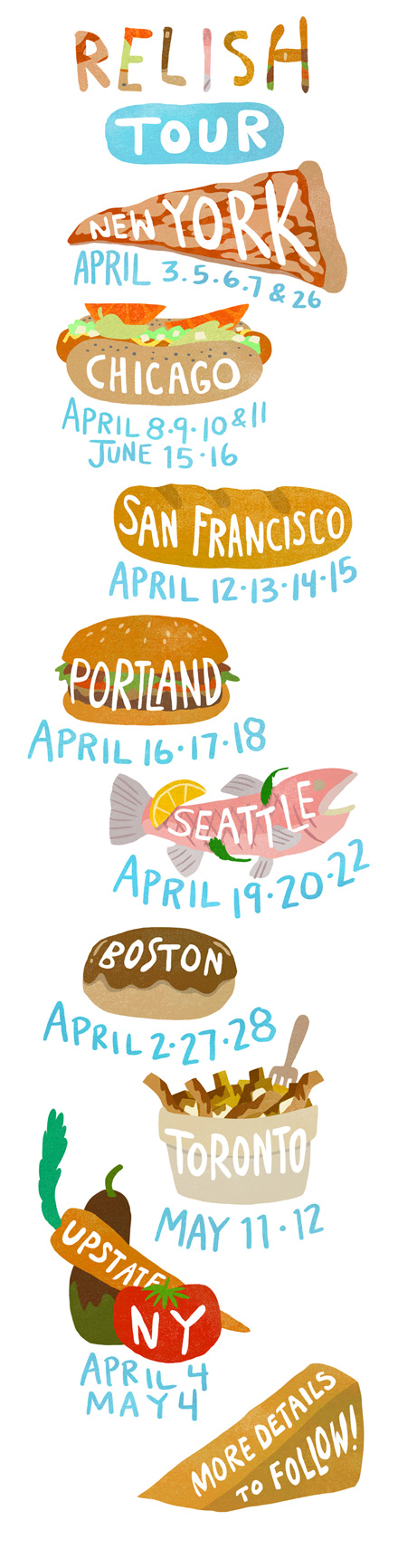 The preliminary dates/locations for my book tour for Relish is here!  I have a lot to do before my tour, but what I really want to do is eat tacos and make a bookplate. But I'm gonna do it! I'm gonna do it all! See you there?