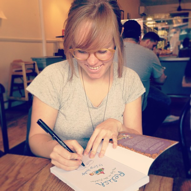 americastestkitchen: We took a break from filming to grab lunch with our favorite graphic novelist, Lucy Knisley! Her newest book, Relish, is a must-read for any food lover. (A live Instagram snapshot from the Test Kitchen. http://bit.ly/12dbtdo) This was really fun and also I ate a sandwich the size of my head.