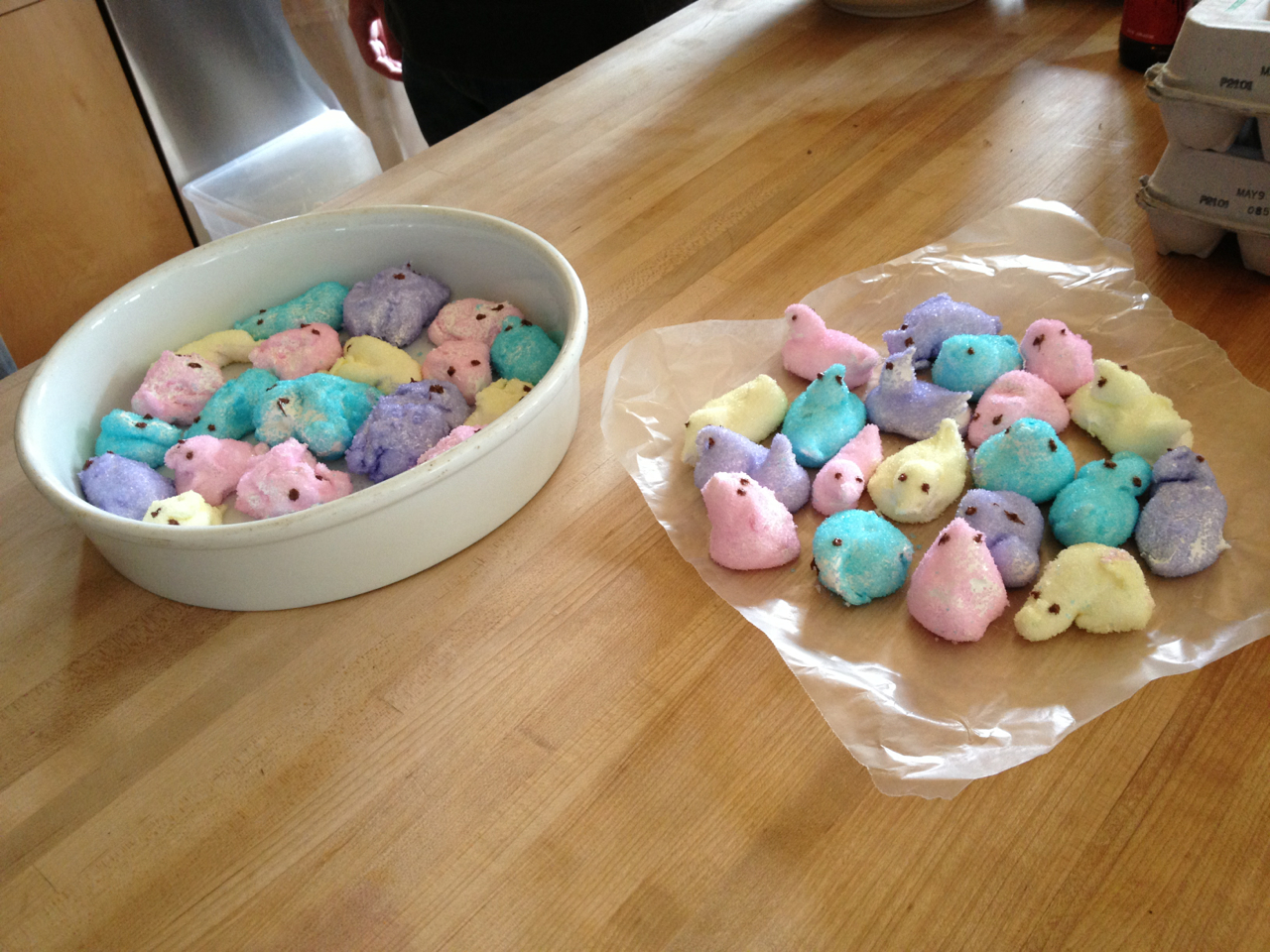 Here are some homemade peeps I made today for my mom's Easter party. Some of them look like Easter bunny barf, but that's okay because I woke up to a mysterious Facebook message about the New York Times and was surprised to find a full page from Relish in the Arts and Leisure section. So I got to eat warm marshmallow fluff this year AND be in the New York Times, so, good Easter.