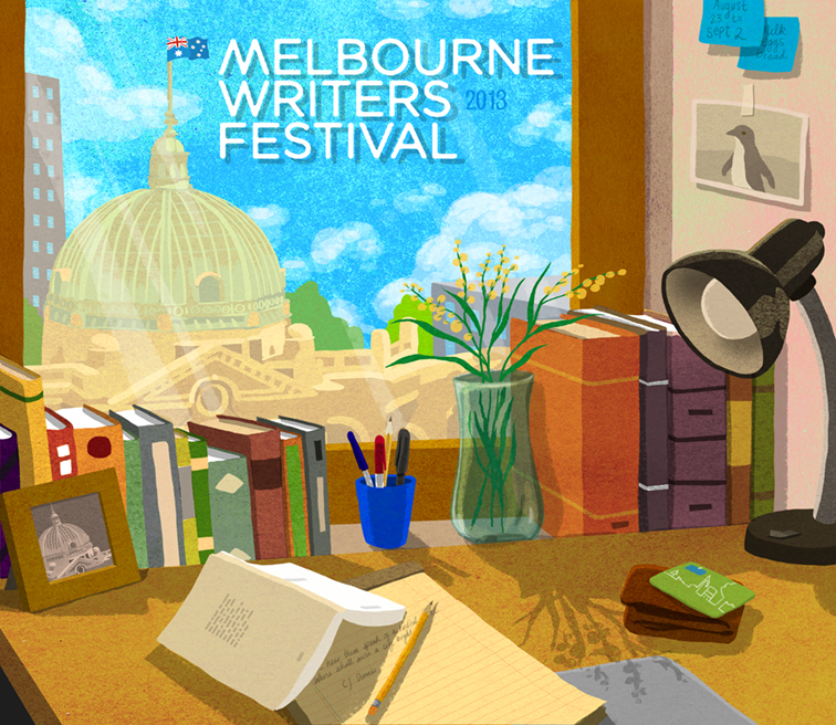 I spent the last week at the Melbourne Writers Festival in Australia. Here's a little print I made for them of Melbourne stuff.