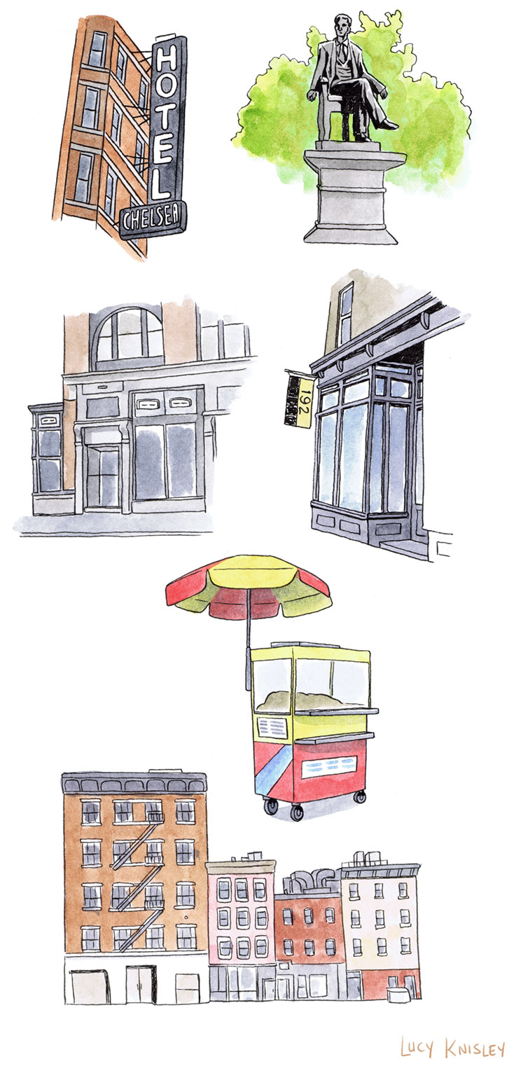 Some sketches of NYC I did for a friend's birthday before I left town.