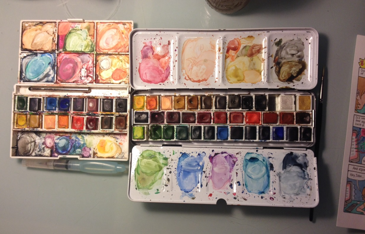 I have developed a problem with watercolor half pans. I want all of them. All the half pans. Here is my travel set and my studio set. I had to use all of them because.