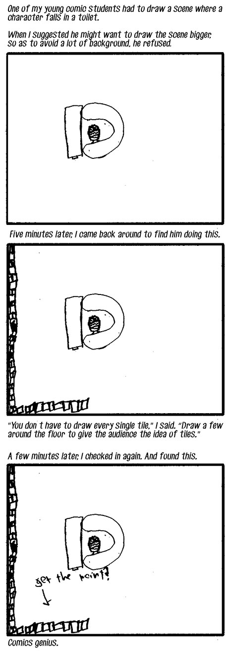 Adventures in teaching comics! Oh childhood laziness, we could all learn a thing or two from you.