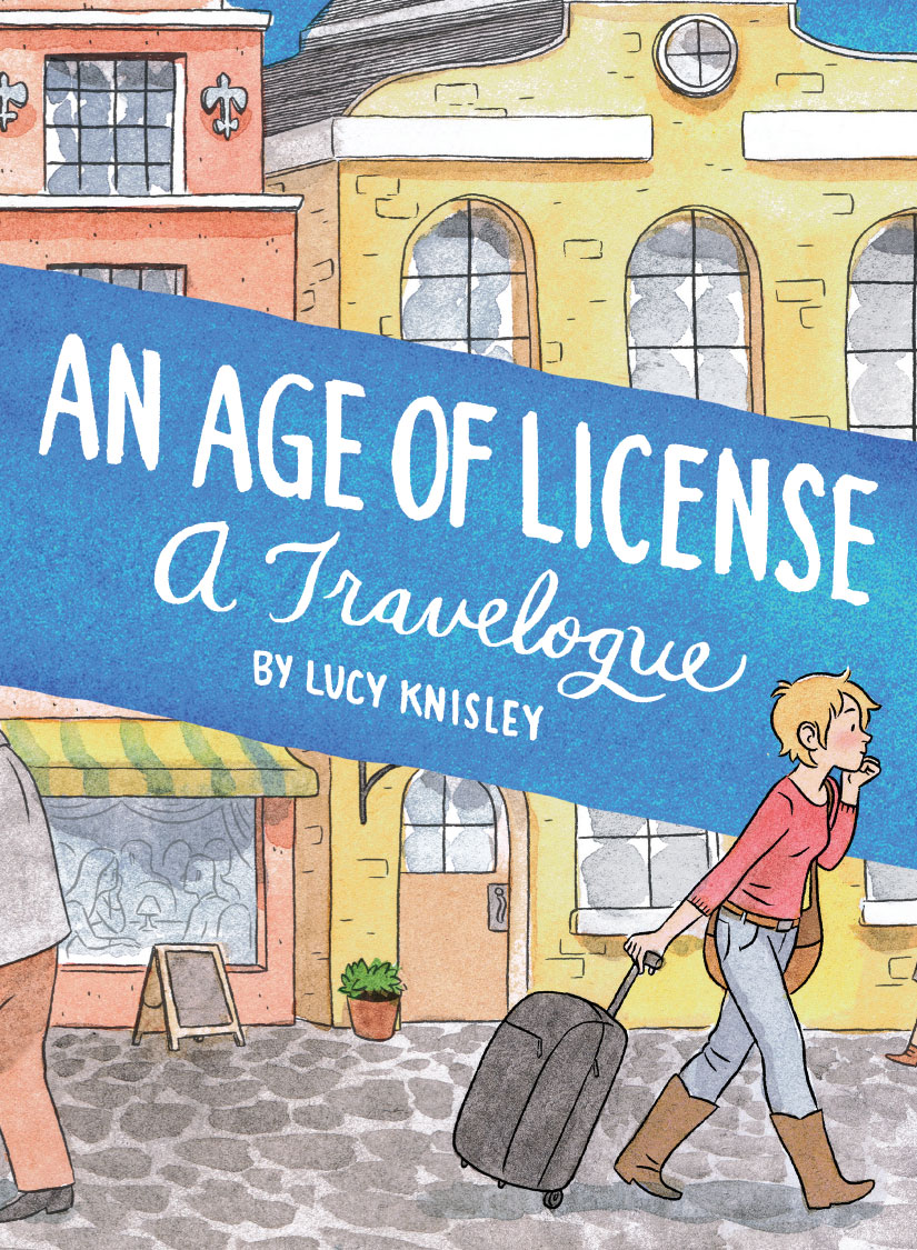 """fantagraphics: Just arrived and shipping now from our mail-order department: An Age of License by Lucy Knisley 196-page black & white/color 5.5"""" x 7.5"""" softcover • $19.99 ISBN: 978-1-60699-768-0 See Previews / Order Now Acclaimed cartoonist Lucy Knisley (French Milk, Relish) got an opportunity that most only dream of: a travel-expenses-paid trip to Europe and Scandinavia, thanks to a book tour. An Age of License is Knisley's comics travel memoir recounting her charming (and romantic!) adventures. It's punctuated by whimsical visual devices (such as a """"new experiences"""" funnel); peppered with the cute cats she meets along the way; and, of course, features her hallmark — drawings and descriptions of food that will make your mouth water. But it's not all kittens and raclette crêpes: Knisley's experiences are colored by anxieties, introspective self-inquiries, and quotidian revelations — about traveling alone in unfamiliar countries, and about her life and career — that many young adults will relate to. An Age of License — which takes its name from a French saying — is an Eat, Pray, Love for the alternative comics fan. Hey everybody! Want a new book by me?"""