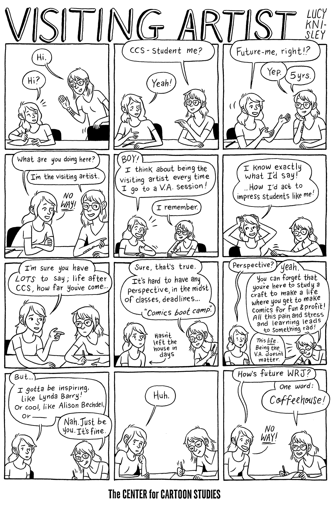 Here is the comic I did for the Center for Cartoon Studies visiting artist collection, which includes doodles and drawings by some of the esteemed visitors they've had over the past few years. Yesterday I gave my presentation to the school, and it was pretty amazing to feel the swell of comics energy and interest that radiated from the students. It's always so fascinating and weird to revisit places from our past. When I went to school here, I used to joke that this little old train village seemed like a ghost town, with its sparse populace, old-timey buildings and looming pine trees. It's interesting to think about the ghosts of ourselves that we leave behind. This town did NOT have a coffeehouse when I lived here, and I'm SUPER JEALOUS of it. The town has changed a lot in five years, but much is still the same. The typewriter repair shop, for example, STILL OPEN. HOW. WHY. WHAT.