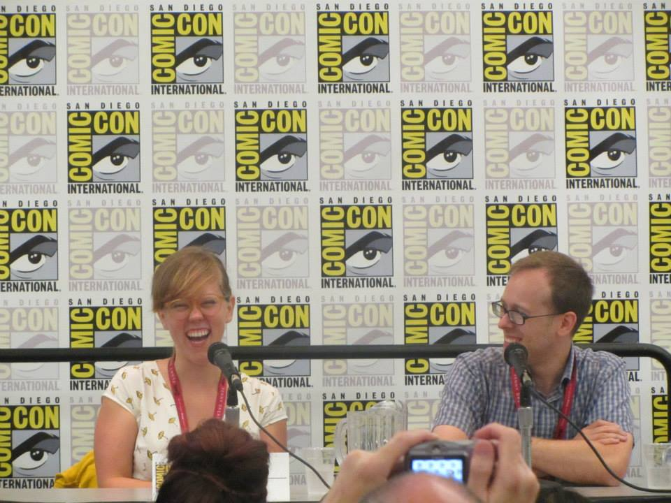 The artist shown here snort-laughing at her husband in front of a crowd of hundreds at San Diego Comic Con 2014, where she was a special guest. (Photo by Jamie Bressler)