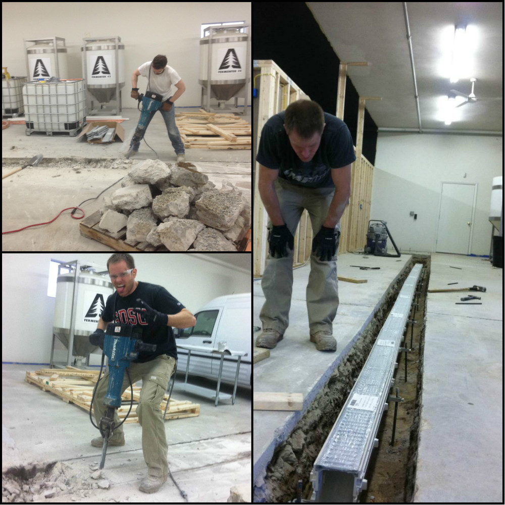 Creating our floor drain. We know way more about concrete floors than we ever wished to.