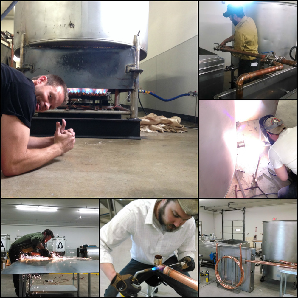 Building of our 10-BBL production brewing system.