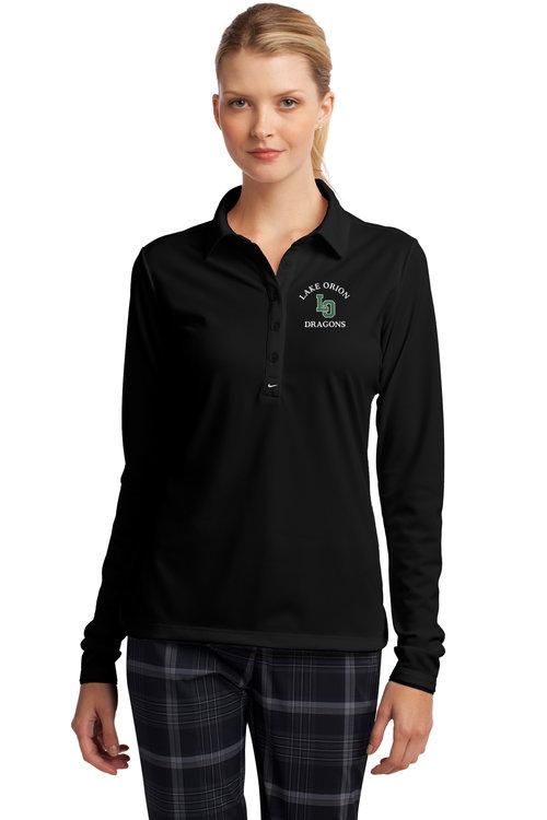 9e482475e31 Nike Golf Ladies Long Sleeve Dri-FIT Stretch Tech Polo. 545322.  v1_545322_Black_Model_Front.jpg