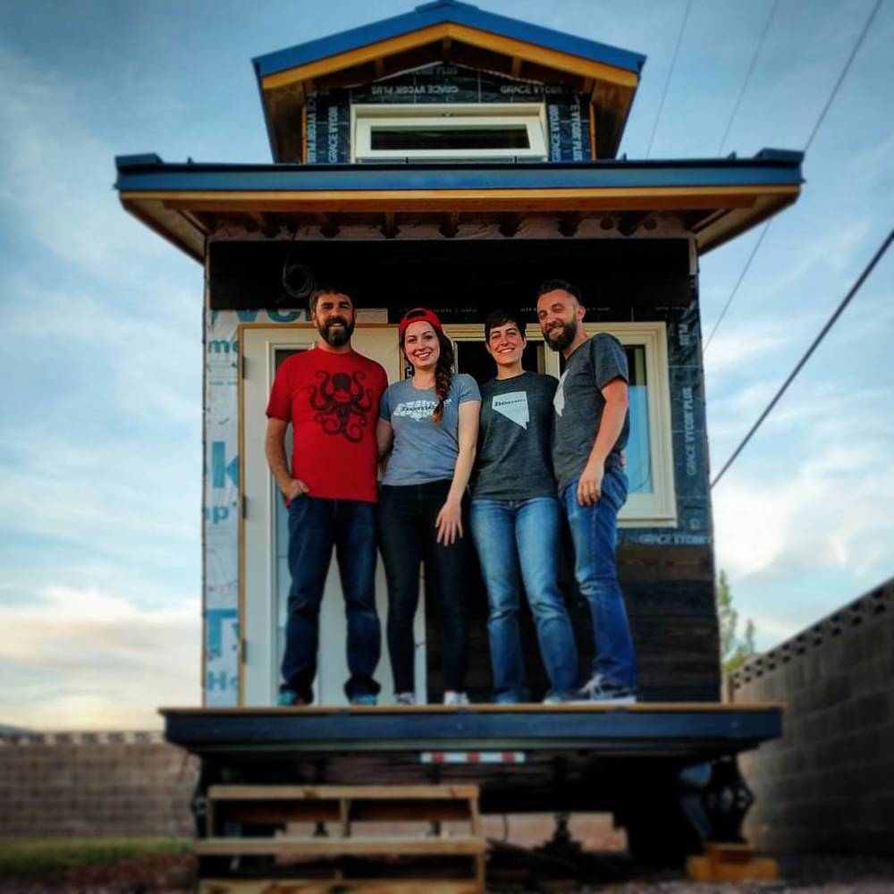 Alexis & Christian with Jeff & Megan at their tiny house build- Pihoto by Room to Spare Tiny House
