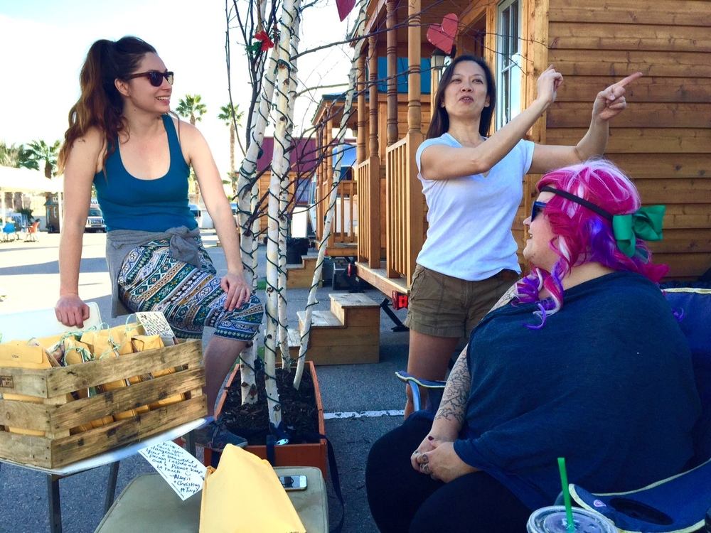 Alexis with residents of Llamalopolis, a tiny home community in downtown Las vegas