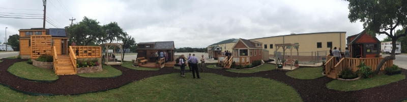 Tiny home village by high school students of Construction Careers Academy in San Antonio