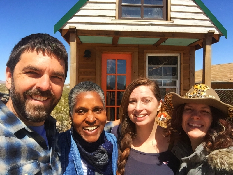 Christian  & alexis with artist & tiny houser, Dominique Moody and Tiny house Host & musician, Artemis in Joshua Tree