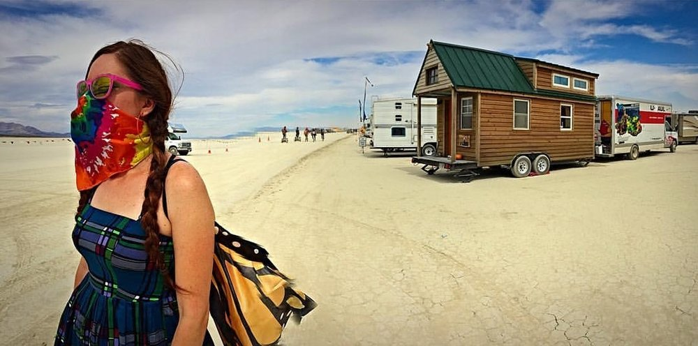 Our tiny home parked in the Black Rock Desert at Burning Man