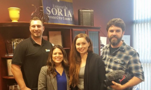 Fresno City councilmember Esmeralda Soria with Nick Mosley of California tiny house and filmmakers, Alexis & Christian