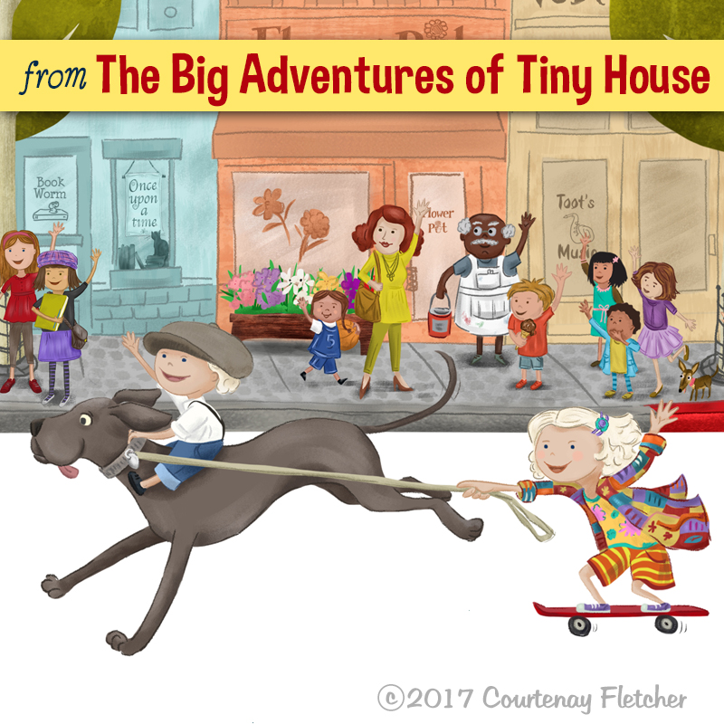 "Illustration of Macy Miller's great dane and adorable children from ""The Big Adventures of Tiny House"" by Courtenay Fletcher"