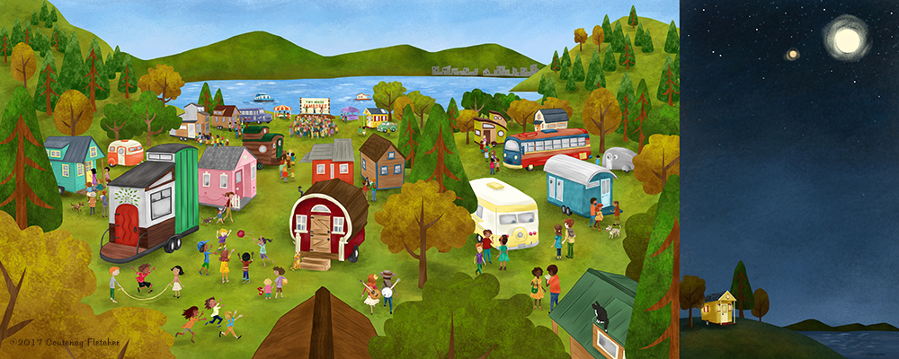"Illustration from ""The Big Adventures of tiny house"" by Courtenay fletcher"