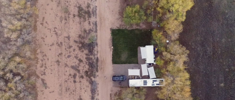 Ariel view of the Trebventure's developing homestead