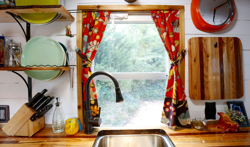 Our tiny house kitchen window over the sink