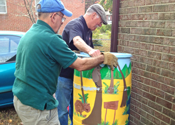 Rain barrel installation