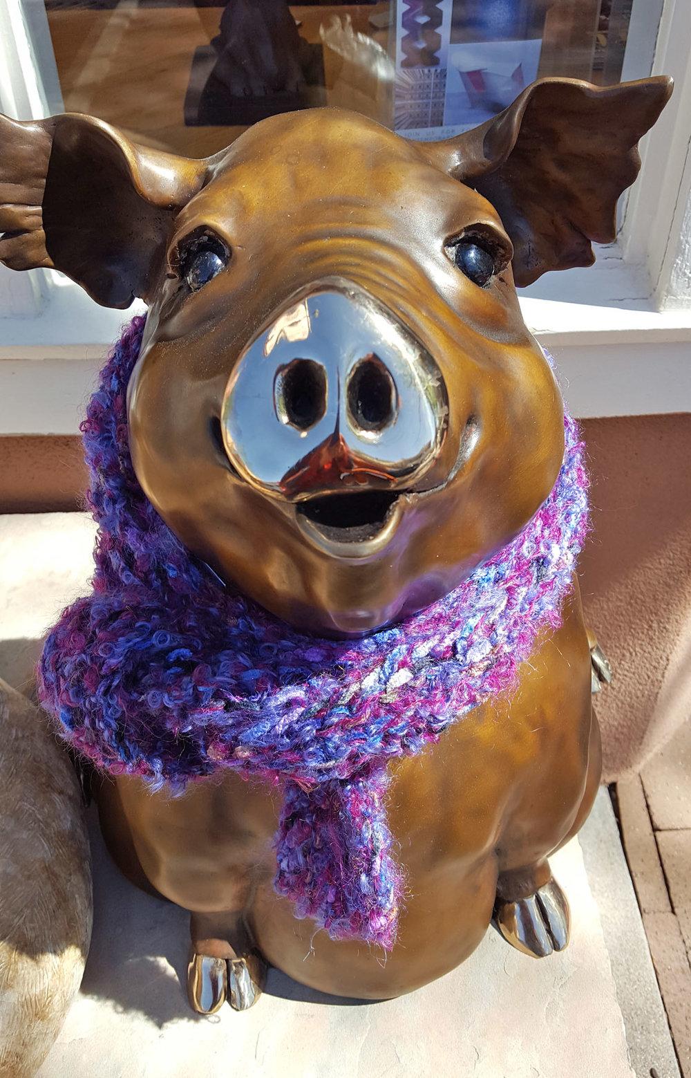"""Pam Grob fiber bombed """"Willamena"""" the piggy at Sorrel Sky Gallery."""