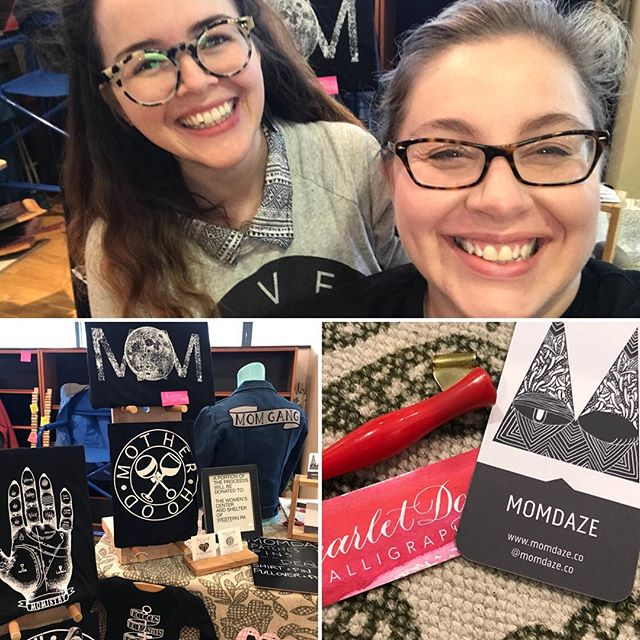 Hey friends! I'm down here on the South Side at the #imadeitmine market with the FABULOUS @momdaze.co. We're slinging some truly great tees and hand-lettered gift tags this afternoon and would love to see yinz!