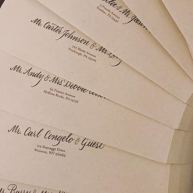 Sometimes just a little ink can have a big impact. These lovelies will be hitting the mail tomorrow! . . . . . . . . #dearscarlet #pittsburghcalligrapher #pittsburghbride #burghbrides #penteltouch #brushcalligraphy #weddingcalligraphy #pittsburghcalligraphy #handlettering