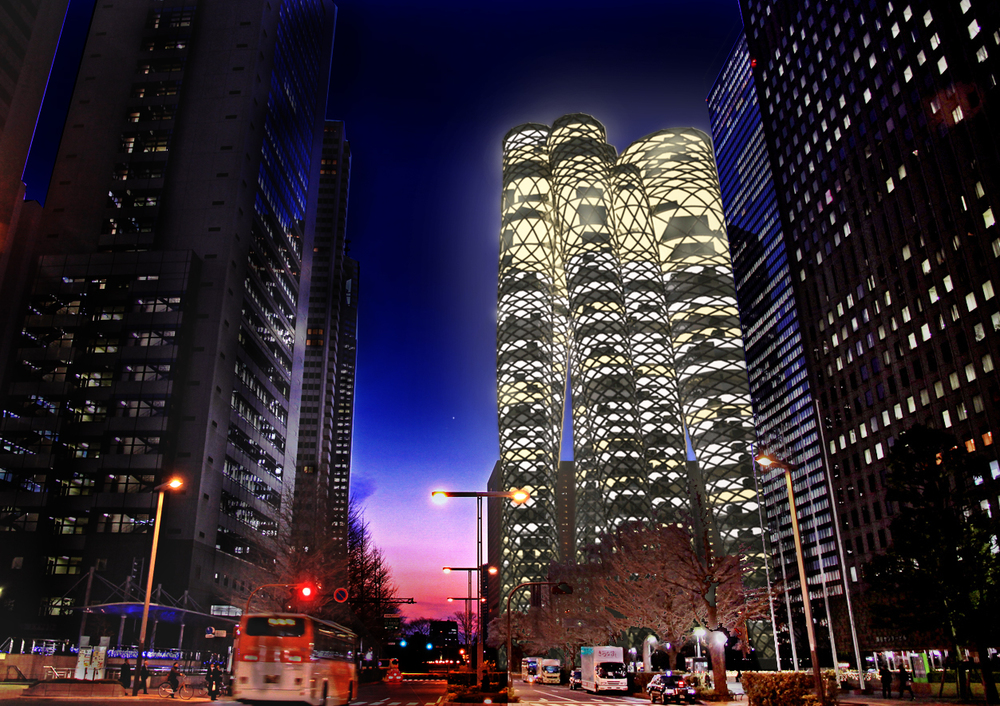 horn inverted 敷地に根ざす面積は小さいが、複数のモノコックタワーが曲がりくねって、時に寄り添い、時に離れながら上空へ伸びていく。地に根ざす低層階ではカフェや小売店舗が集積し、上空でタワーが寄り添う場所では映画館や美術館、図書館など公共的な空間が広がる。タワーが離れて孤立する間は住居が内包され、より上空で再び寄り添う場は、夜景の眺望できるレストランが集まる。