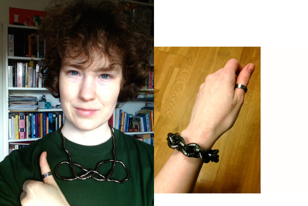 Idlewildly, with a Snaketwist worn as a bracelet and necklace and a spinner ring