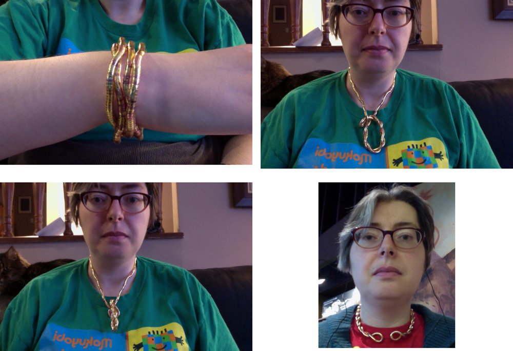 Trudy, with a snake twist worn 4 different ways