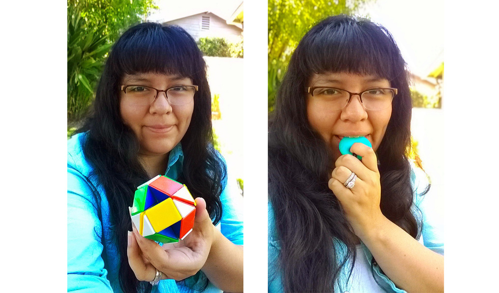 Yvonne, with a snake puzzle fidget and a chewable annular pendant