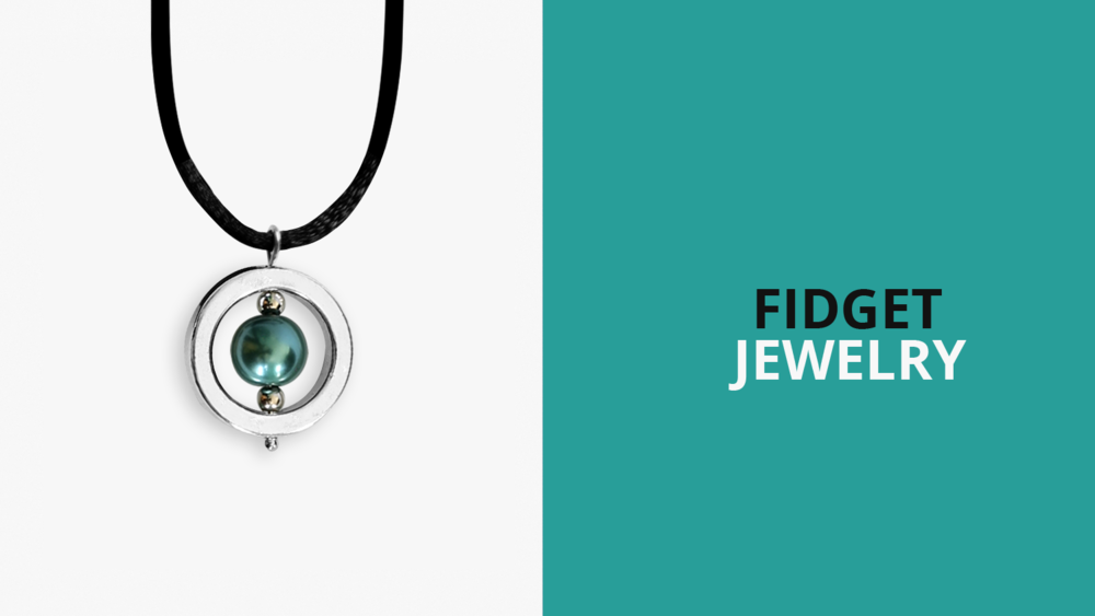A photo of a planet necklace - a silver ring with a wire through the middle, and two small beads sandwiching a large bead in the middle of the circle, all on a black cord. Next to it it says fidget jewelry.
