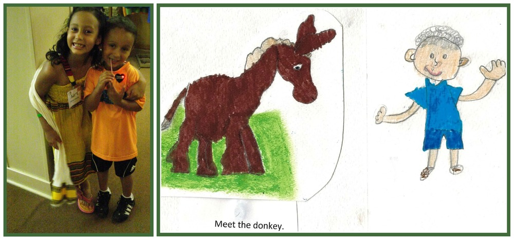 Jane's grandkids and a donkey illustration for the story.