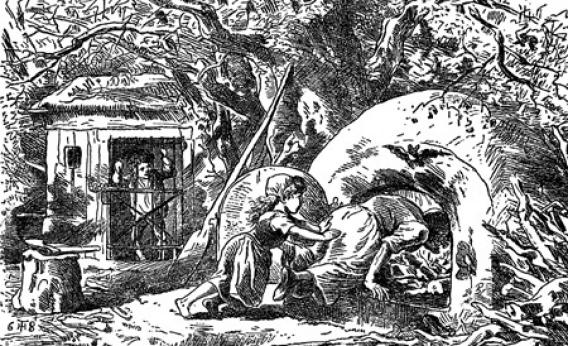 "An illustration for ""Hänsel und Gretel"" from  The Fairy Tales of the Brothers Grimm"