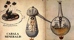 Homunculus in Vas Hermeticum, illustration from Rabbi Simeon Ben Cantare's 16th century manuscript The Cabala Mineralis.