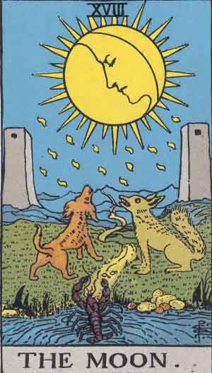 The Moon, Rider Waite Tarot Deck