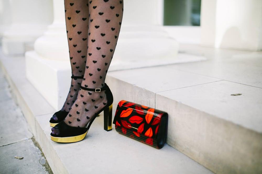 Equipment Blouse | Diane Von Furstenberg Skirt | Asos Heart Tights | Diane Von Furstenburg Heels | Diane Von Furstenburg Clutch | Charlotte Tillbury Lipstick Photos by Bryant Lee