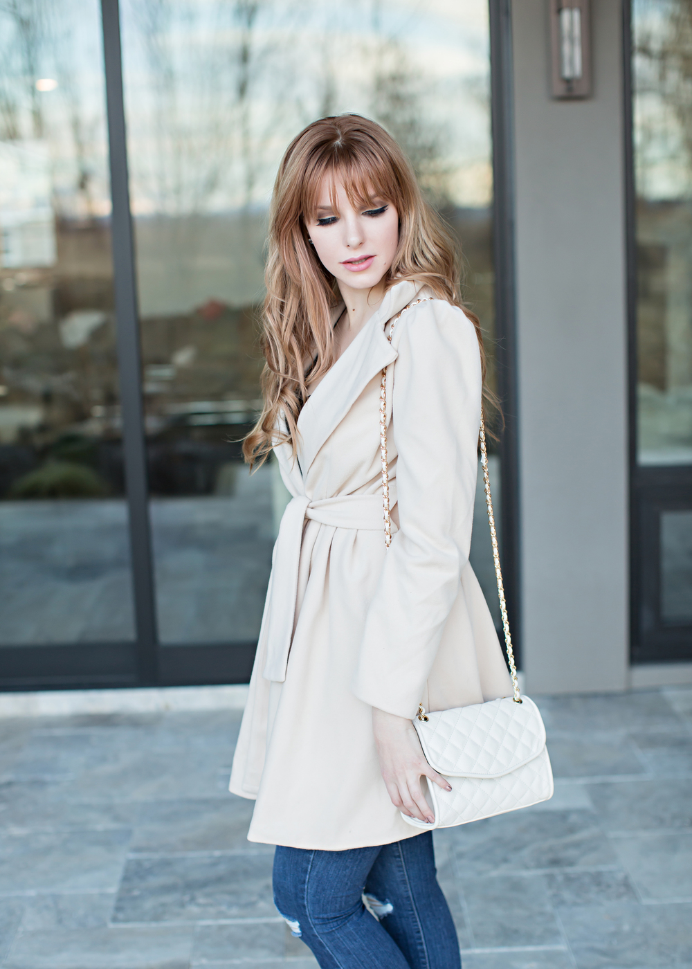 Red head in a camel coat
