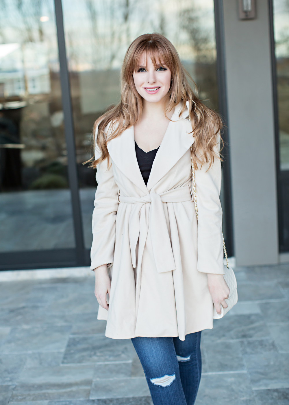 Red Head in Camel Chicwish Coat