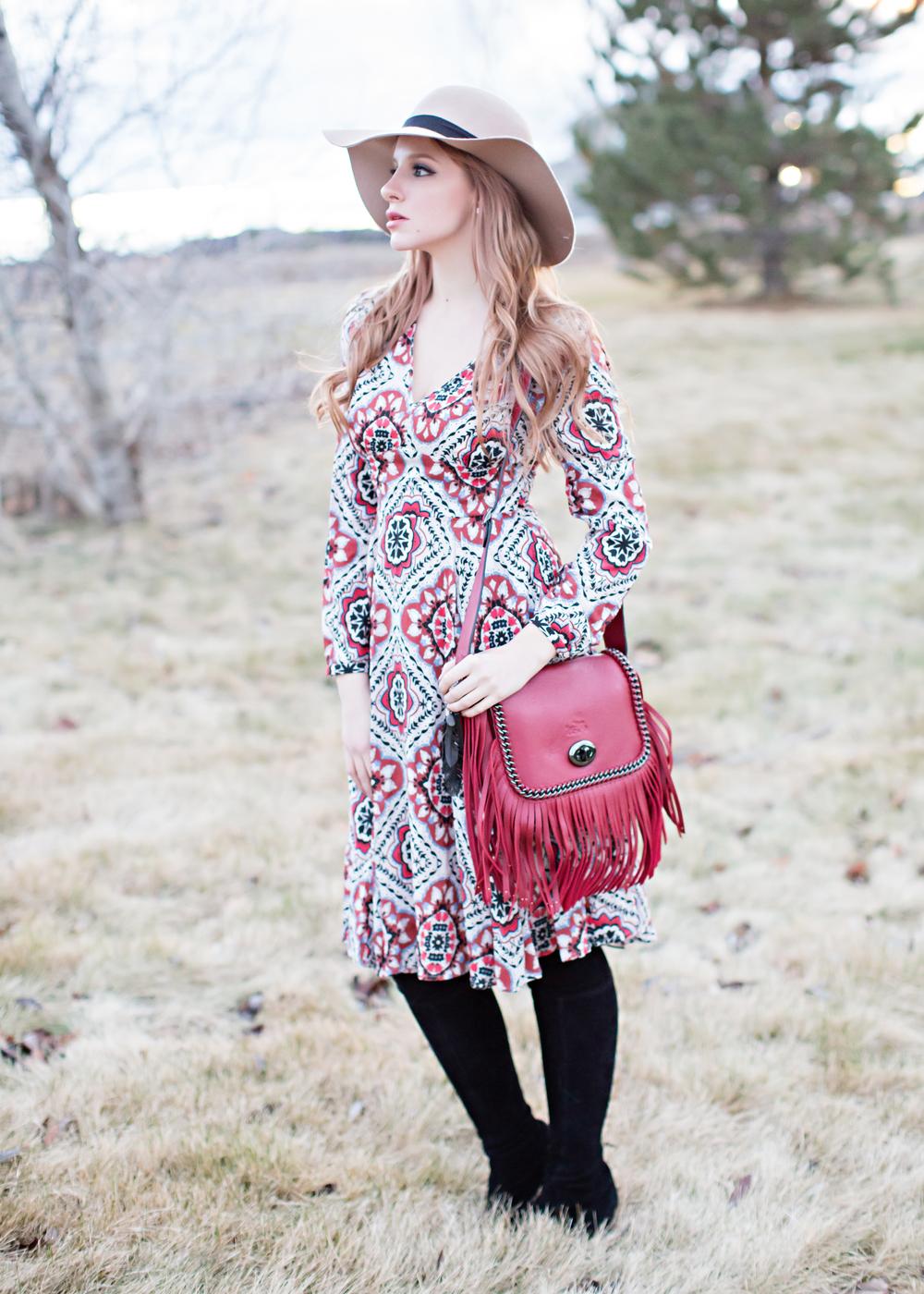 Yumi Kim Dress, Redhead, Red fringe bag