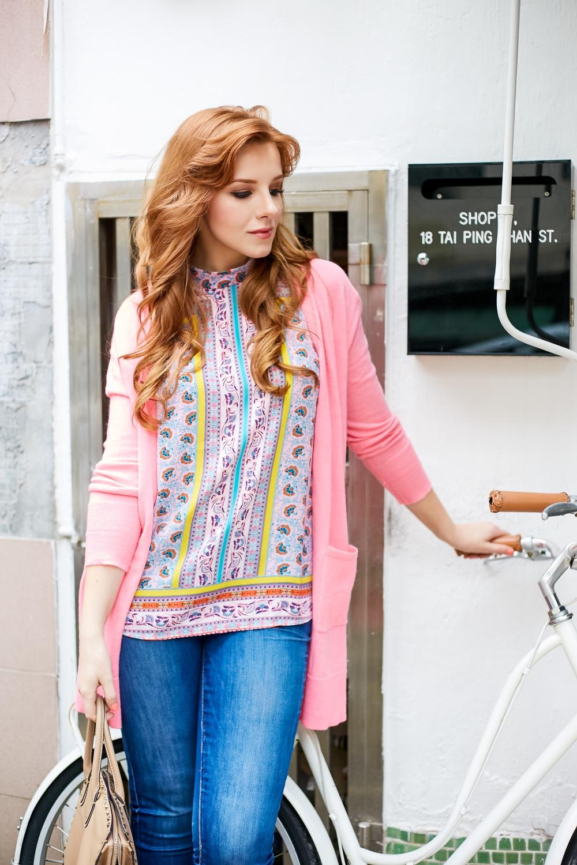 redhead wearing pink