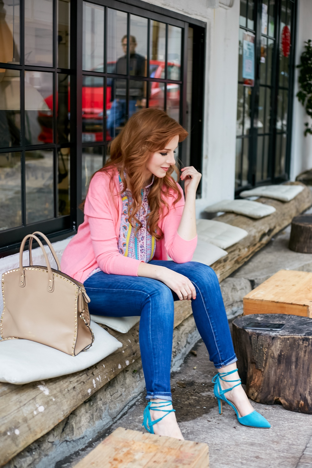 valentino rockstud dome satchel, redhead, pink cardigan, turquoise heels, vince camuto